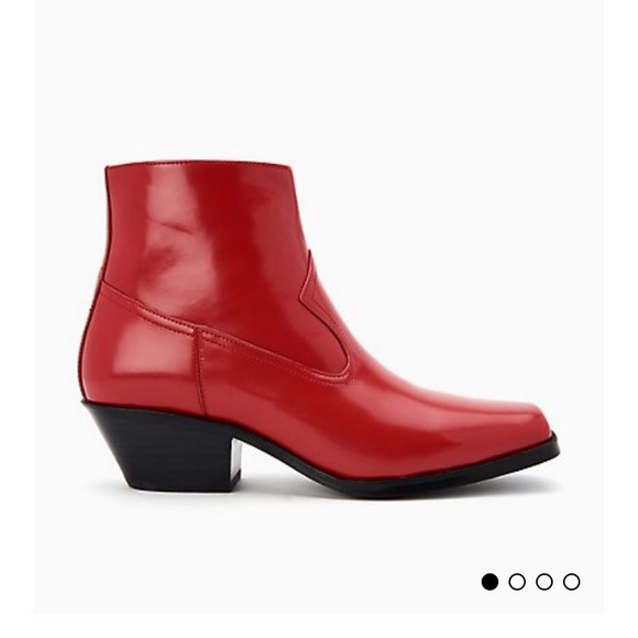 9a5395d137e Calvin Klein Red Leather Booties NWT